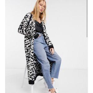 NWT ASOS animal print maxi cardigan borg knit sz 2